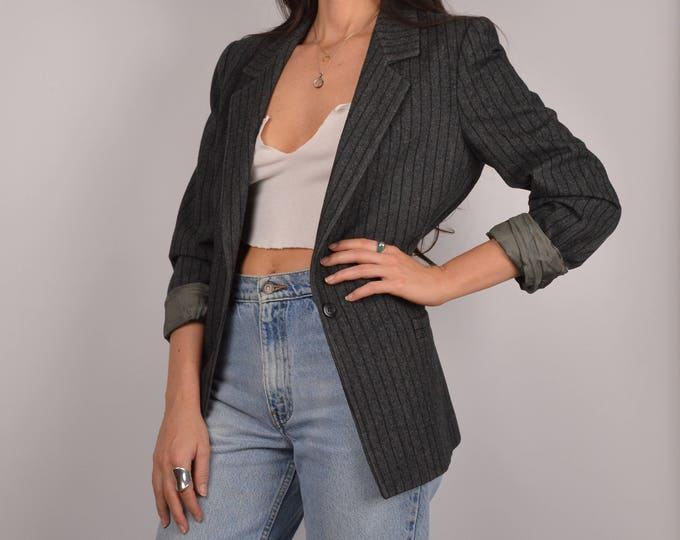 SALE Vintage Pinstriped Gray Blazer