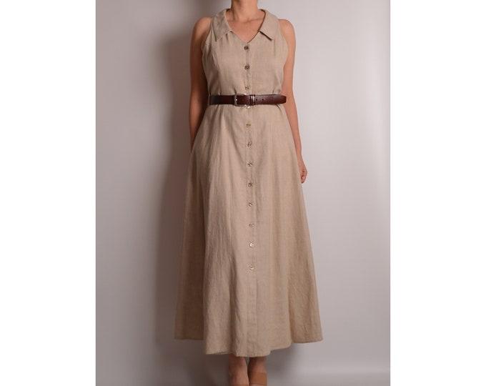 Vintage Linen Market Dress (M-L)