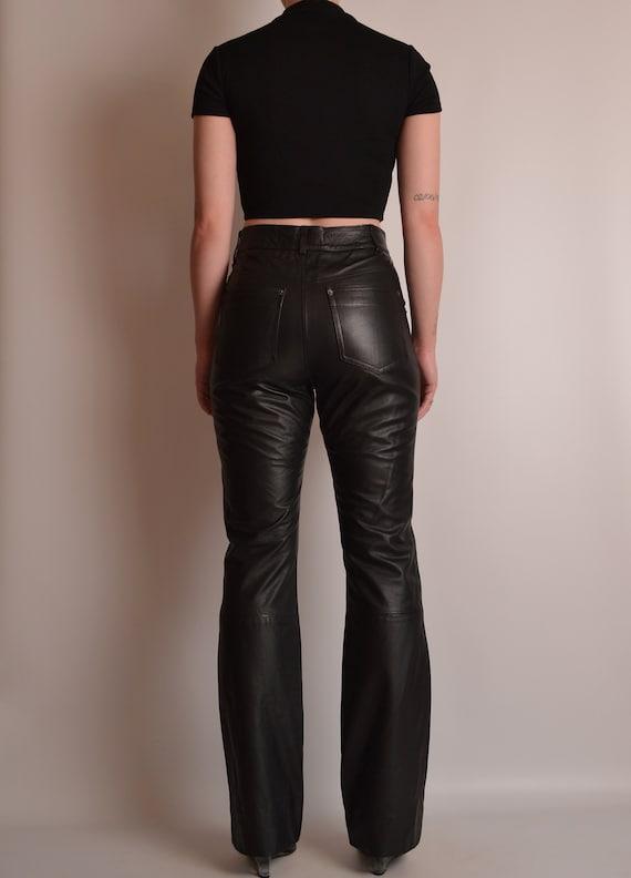 "Vintage Black Leather Pants (27""W) - image 4"