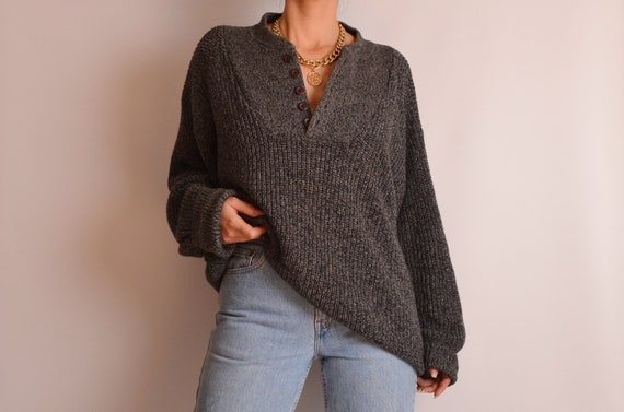 Vintage Knit Cotton Henley Sweater (S-L)
