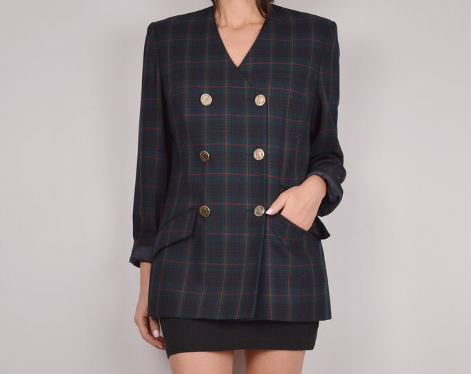 SALE Vintage Plaid Double-Breasted Blazer / Sz M