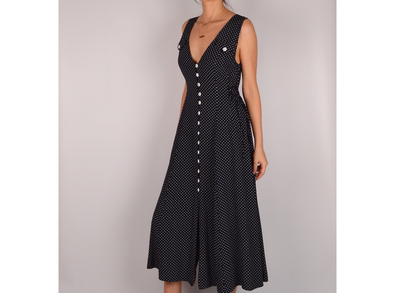 Vintage Black Button Down Midi Dress (S-M)