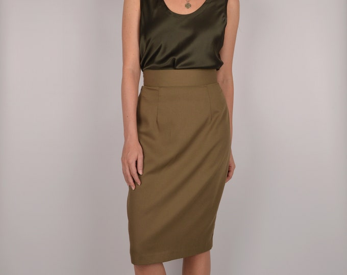 Vintage High Waist Olive Pencil Skirt / s