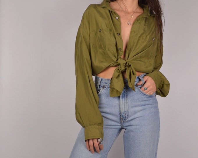 Vintage Olive SILK Shirt