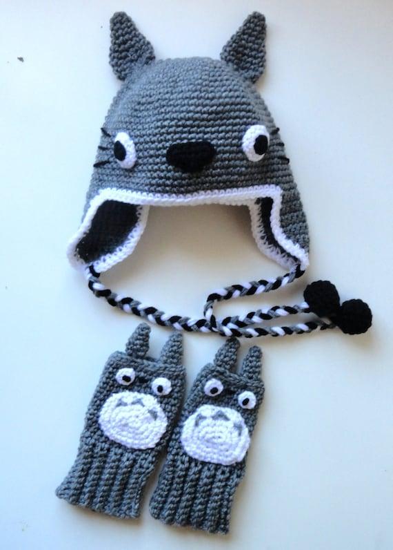 Totoro Inspired Hat And Fingerless Gloves Hand Crochet Etsy