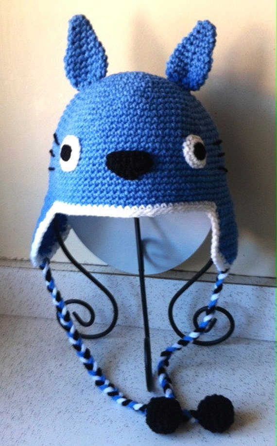 Totoro Hat Blue Inspired Hand crochet Pre-teen to Adult size  1b2ad15d985