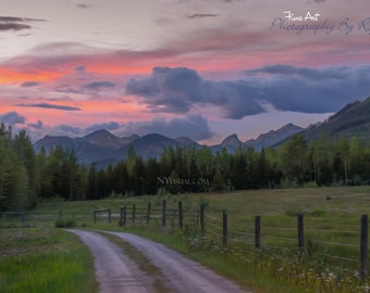 Sunset Road - Golden, British Columbia.  Canadian Rockies. Canada Landscape Digital Painting / photography.