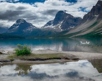 "Bow Lake Reflection, Banff National Park, Alberta Canada.  On the Road to Jasper. Original Fineart ""Digital Painting"" / Photograph"