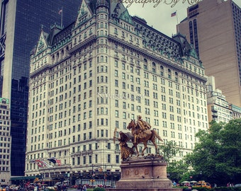 NYC iconic Plaza Hotel with Statue. Central Park, Historic, 5th Avenue, Manhattan New York City Original photograph / print.