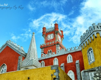 Pena National Palace in Sintra, Portugal. Original Fine Art Street Photography. Castle in Vibrant colors