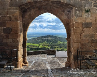 Castelo de Monsaraz - Portugal. Original Fine Art Photography. Lake and mountain view through the Fort's gate