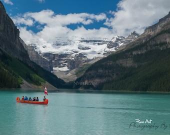 "Canoe on Lake Louise - Banff National Park, Alberta Canada - Original Fine Art Landscape ""Digital Painting"" Photography"