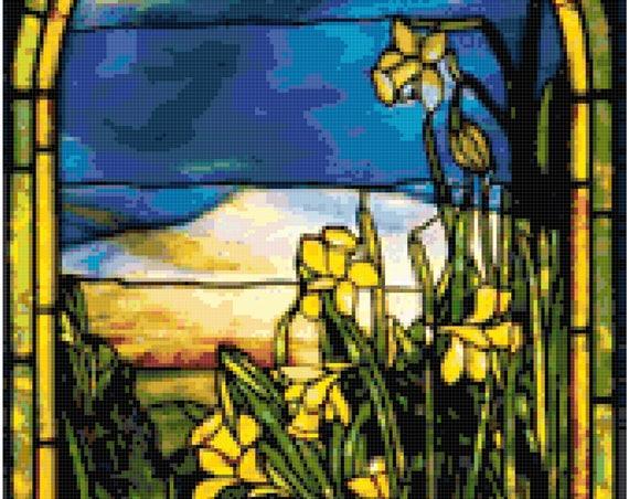 Louis Comfort Tiffany Daffodils Counted Cross Stitch Pattern Chart PDF Download by Stitching Addiction
