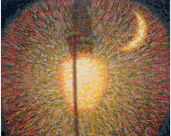 Giacomo Balla Street Light Counted Cross Stitch Pattern Chart PDF Download by Stitching Addiction