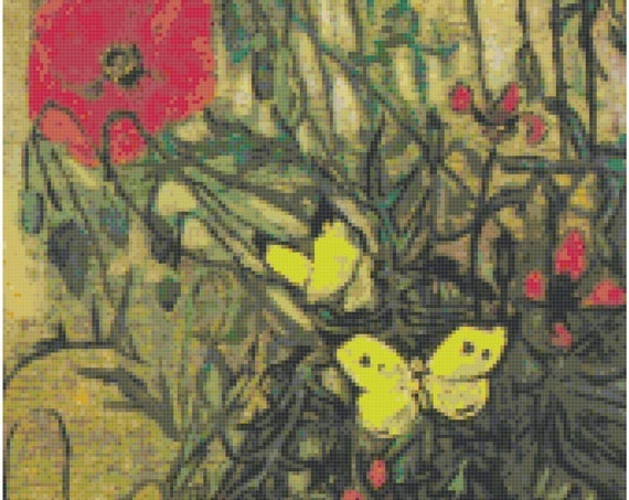 Vincent Van Gogh Poppies and Butterflies Counted Cross Stitch Pattern Chart PDF Download by Stitching Addiction