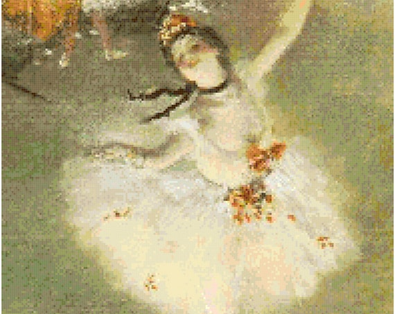 Edgar Degas Dancer on Stage Counted Cross Stitch Pattern Chart PDF Download by Stitching Addiction