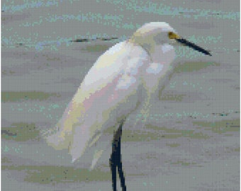 Snowy Egret White Heron Counted Cross Stitch Pattern Chart PDF Download by Stitching Addiction