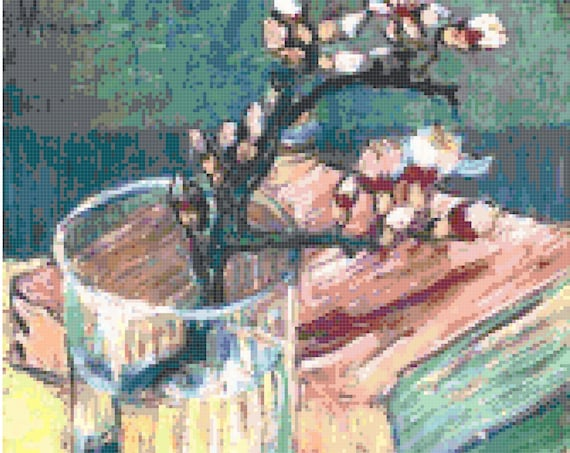 Vincent Van Gogh Almond Blossom Branch and Book Counted Cross Stitch Pattern Chart PDF Download by Stitching Addiction