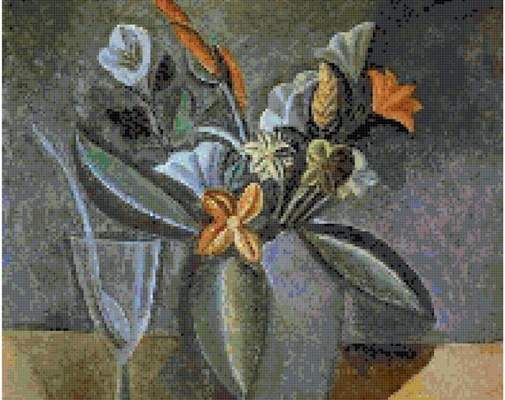 Pablo Picasso Flowers in a Gray Jar Counted Cross Stitch Pattern Chart PDF Download by Stitching Addiction