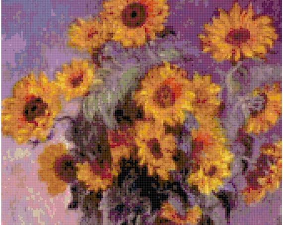 Claude Monet Sunflowers Counted Cross Stitch Pattern Chart PDF Download by Stitching Addiction