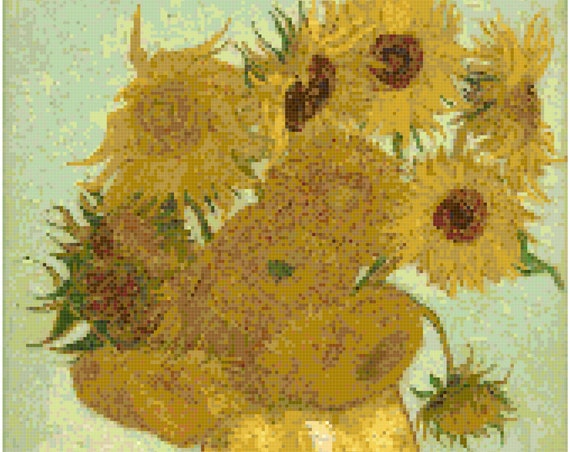 Vincent Van Gogh Vase of Sunflowers Counted Cross Stitch Pattern Chart PDF Download by Stitching Addiction