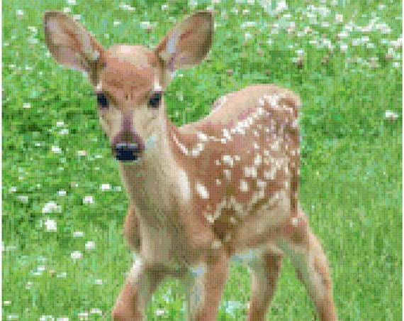 Baby Deer Fawn in a Meadow Counted Cross Stitch Pattern Chart PDF Download by Stitching Addiction