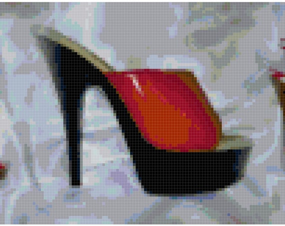 Red High Heels Counted Cross Stitch Pattern Chart PDF Download by Stitching Addiction