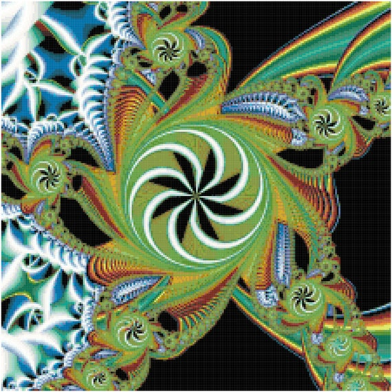 Abstract Fractal Star Counted Cross Stitch Pattern Chart PDF Download by Stitching Addiction
