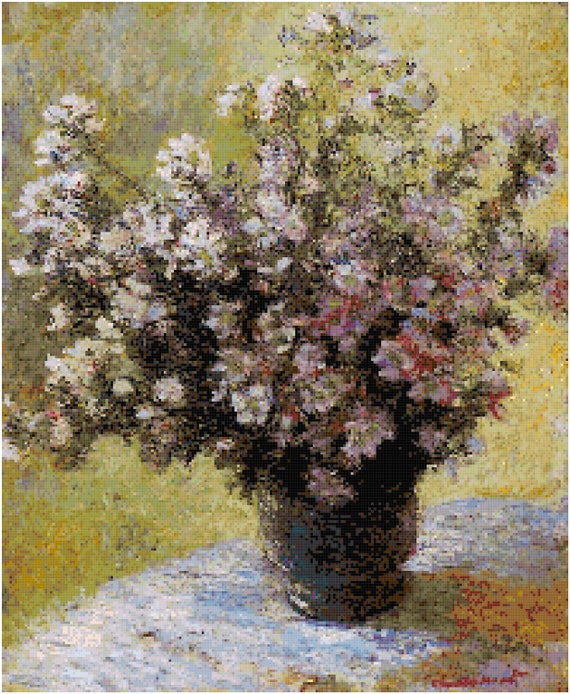 Claude Monet Bouquet of Mallows Counted Cross Stitch Pattern Chart PDF Download by Stitching Addiction