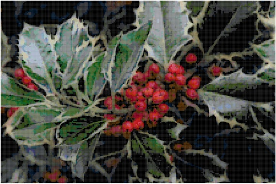 Christmas Holly Counted Cross Stitch Pattern Chart PDF Download by Stitching Addiction