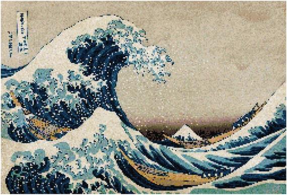 Hokusai Great Wave Counted Cross Stitch Pattern Chart PDF Download by Stitching Addiction