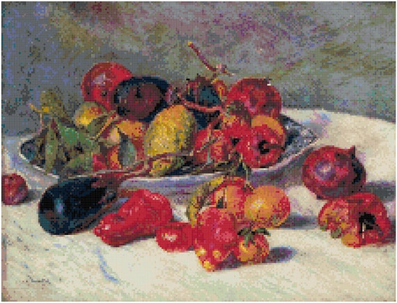 Pierre Auguste Renoir Still Life with Fruit Counted Cross Stitch Pattern Chart PDF Download by Stitching Addiction