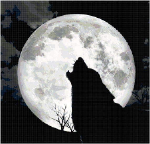 Howl at the Moon Wolf Counted Cross Stitch Pattern Chart PDF Download by Stitching Addiction