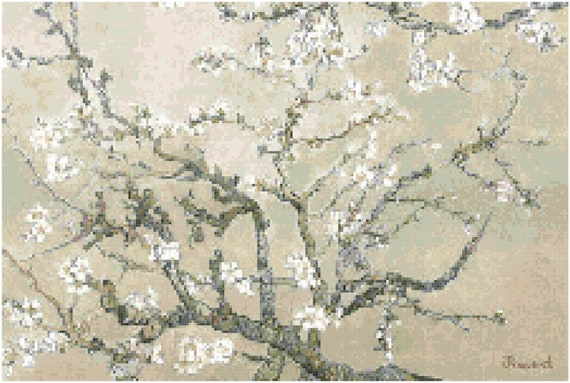 Vincent Van Gogh Almond Blossoms Branches Tan Counted Cross Stitch Pattern Chart PDF Download by Stitching Addiction