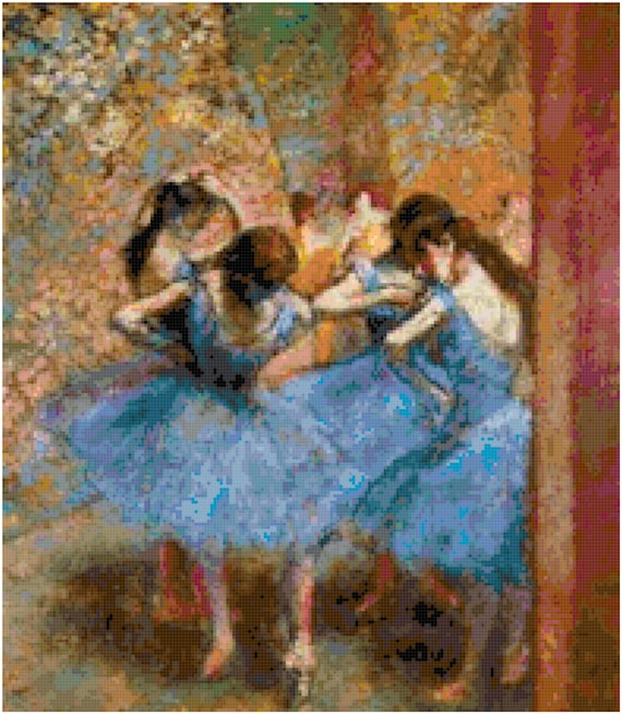 Edgar Degas Dancers in Blue Counted Cross Stitch Pattern Chart PDF Download by Stitching Addiction