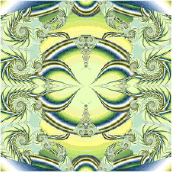 Blue and Green Fractal Counted Cross Stitch Pattern Chart PDF Download by Stitching Addiction