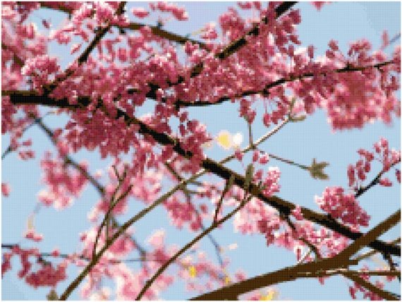 Spring Cherry Blossom Branches Landscape Counted Cross Stitch Pattern Chart PDF Download by Stitching Addiction