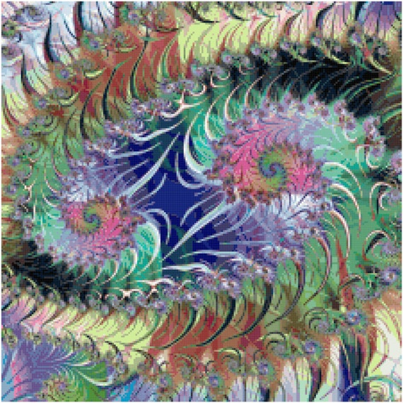 Abstract Fractal Spiral Counted Cross Stitch Pattern Chart PDF Download by Stitching Addiction