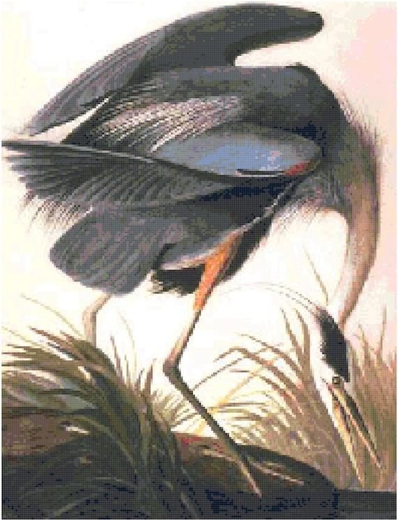 John James Audubon Great Blue Heron Counted Cross Stitch Pattern Chart PDF Download by Stitching Addiction
