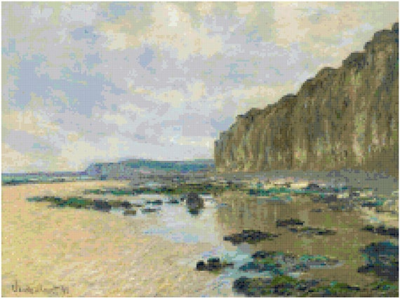 Claude Monet Low Tide Counted Cross Stitch Pattern Chart PDF Download by Stitching Addiction