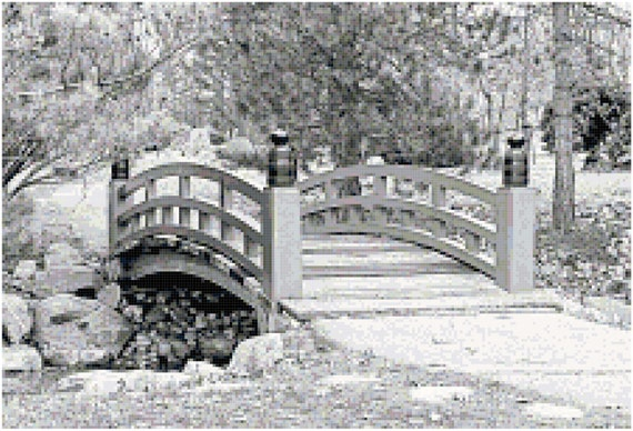 Bridge in a Japanese Garden Landscape Counted Cross Stitch Pattern Chart PDF Download by Stitching Addiction