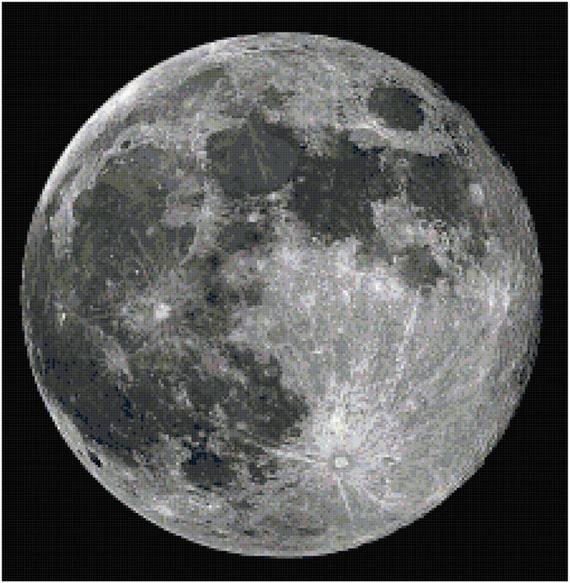 Full Moon Counted Cross Stitch Pattern Chart PDF Download by Stitching Addiction