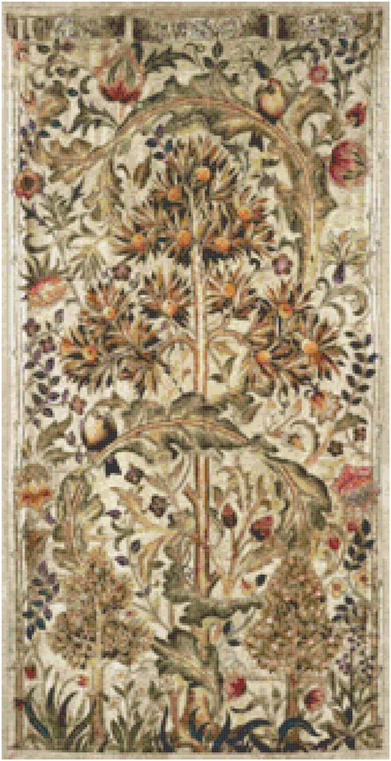 William Morris Summer Quince Tapestry Design Counted Cross Stitch Pattern Chart PDF Download by Stitching Addiction