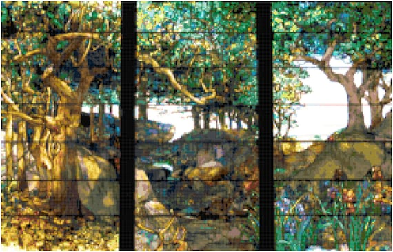 Louis Comfort Tiffany Wooded Landscape Counted Cross Stitch Pattern Chart PDF Download by Stitching Addiction