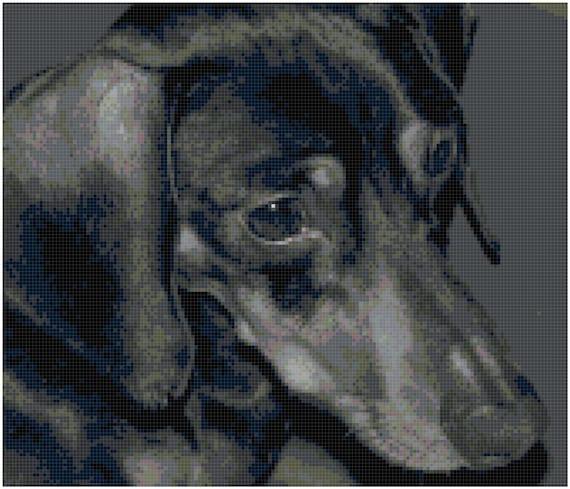 Dachshund Black and White Counted Cross Stitch Pattern Chart PDF Download by Stitching Addiction