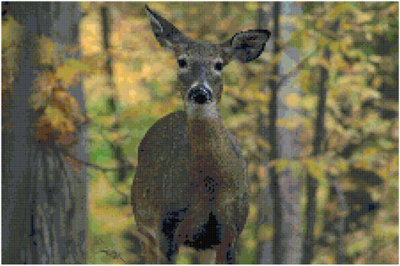 Doe in the Woods Deer Counted Cross Stitch Pattern Chart PDF Download by Stitching Addiction