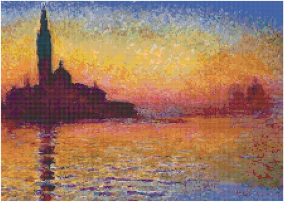 Claude Monet Venice by Twilight Counted Cross Stitch Pattern Chart PDF Download by Stitching Addiction