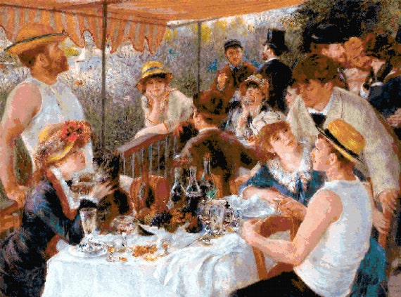 Renoir Luncheon of the Boating Party Counted Cross Stitch Pattern Chart PDF Download by Stitching Addiction