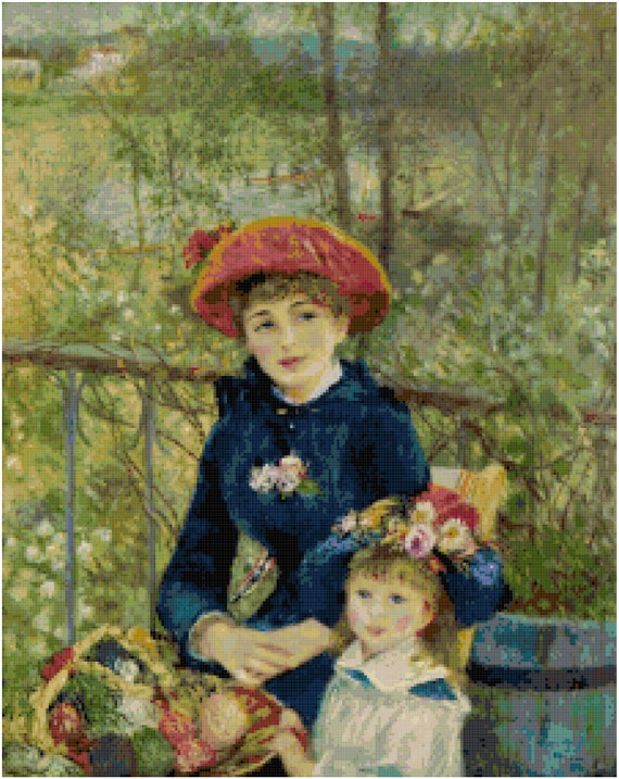 Renoir On the Terrace Counted Cross Stitch Pattern Chart PDF Download by Stitching Addiction