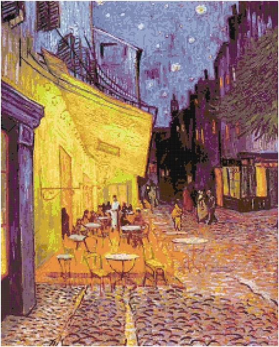 Vincent Van Gogh Cafe Terrace at Night Counted Cross Stitch Pattern Chart PDF Download by Stitching Addiction